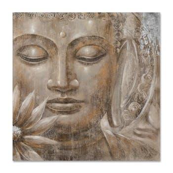 BOUDDHA 100x100 Peinture acrylique carré Beige et Doré