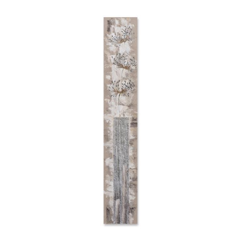 FLEURS 25x150 Peinture acrylique rectangle Beige et Argent