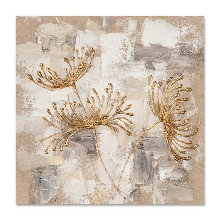 FLEURS 40x40 Peinture acrylique carré Beige et Doré