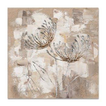 FLEURS 40x40 Peinture acrylique carré Beige et Argent