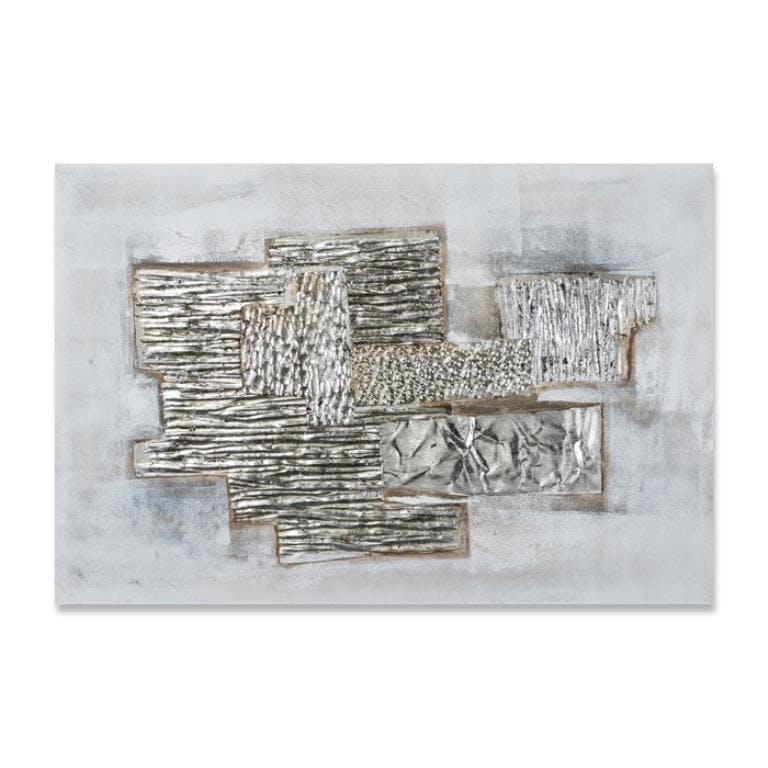 ABSTRAIT 60x90 Peinture acrylique rectangle Gris et Argent