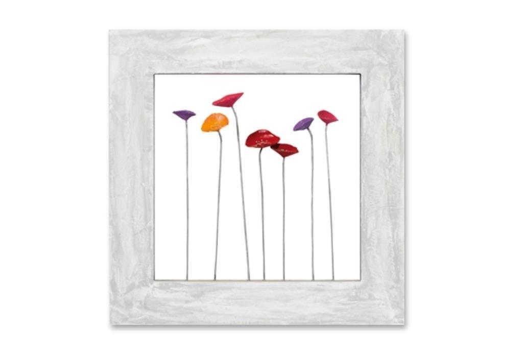 FLEURS 60x60 Peinture sur bois et métal acrylique Rouge et Gris effet 3D