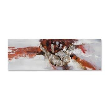 ABSTRAIT 30x90 Peinture acrylique rectangle Marron avec éléments de métal