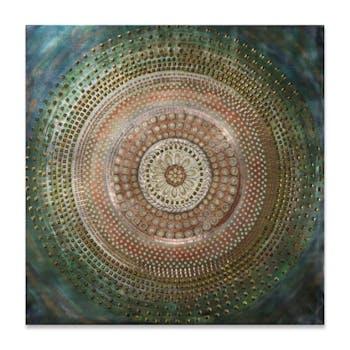 ABSTRAIT 90x90 Peinture acrylique carrée Bleu et Doré avec éléments de métal