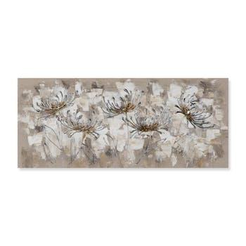 FLEURS 30x70 Peinture acrylique rectangle Marron et Argent
