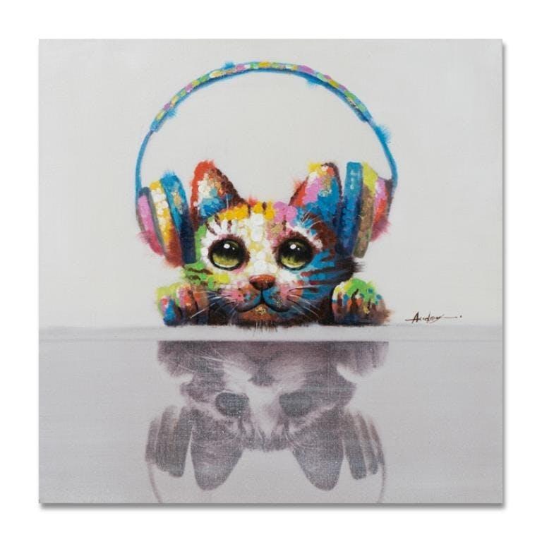 ANIMAUX 60x60 Peinture acrylique carrée Multicolor - Chat