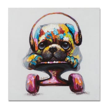ANIMAUX 50x50 Peinture acrylique carrée Multicolor - Chien