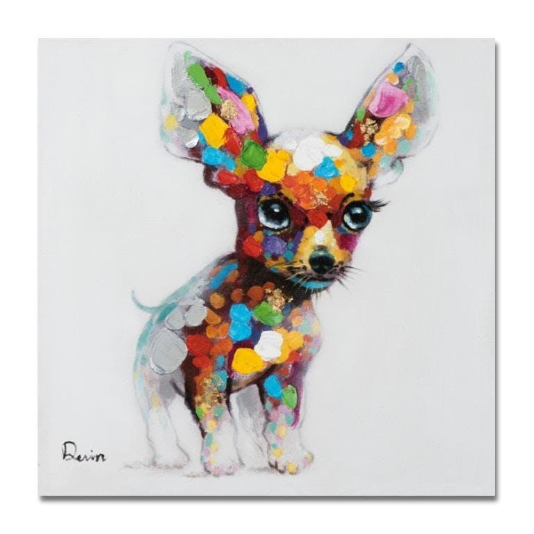 ANIMAUX 50x50 Peinture acrylique carrée Multicolor - Chiot