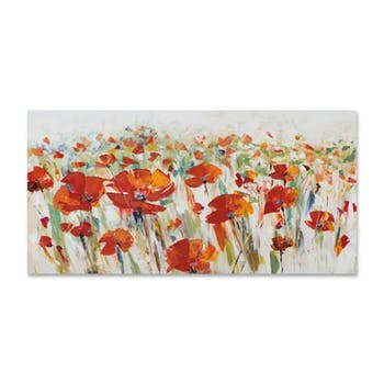 FLEURS 70x140 Peinture acrylique Coquelicot rouge
