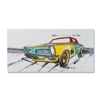 POP-ART 70x140 Peinture acrylique rectangle Jaune, Vert et Métal