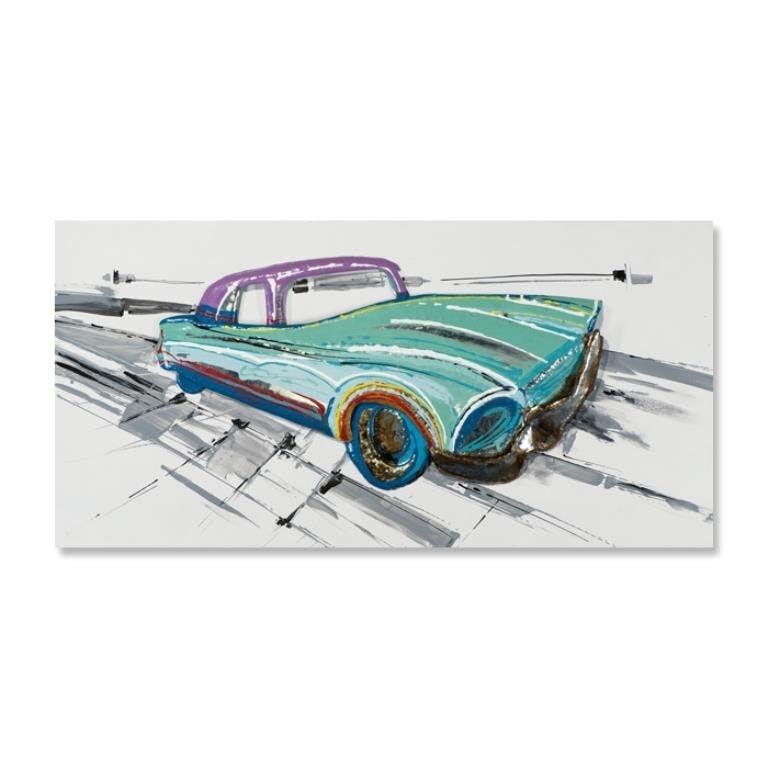 POP-ART 70x140 Peinture acrylique rectangle Vert, Bleu et Métal