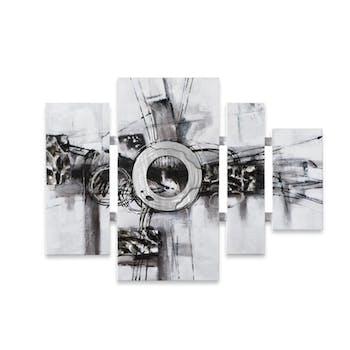 ABSTRAIT 80X109 Tableau quadriptyque Noir, Blanc avec éléments en métal