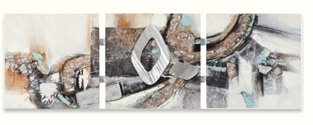 ABSTRAIT 50x156 Tableau triptyque acrylique Noir avec éléments en métal