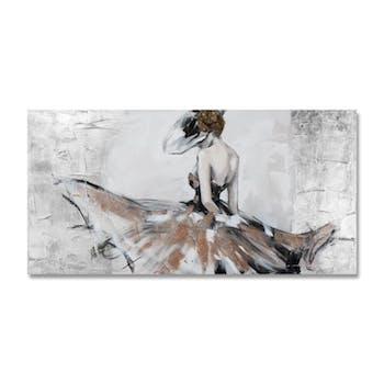 FEMMES 70x140 Peinture acrylique rectangle Noir, Marron avec effet pailleté