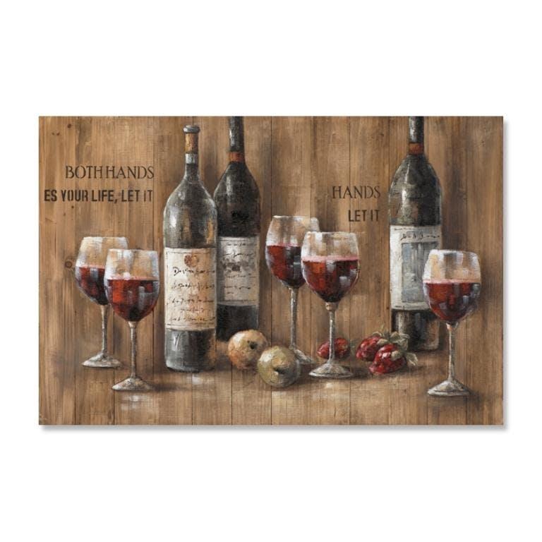 VIN 80x120 Peinture sur bois acrylique Noir et Rouge
