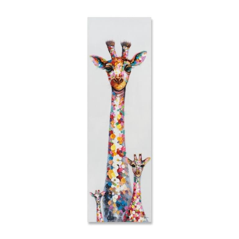 ANIMAUX 50x160 Peinture acrylique rectangle Multicolor - Girafes