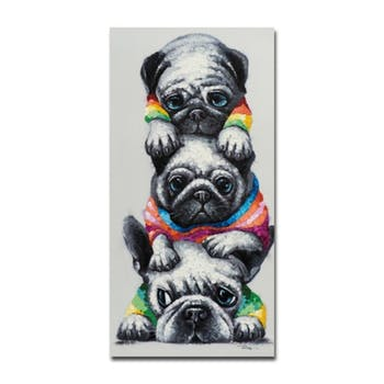 ANIMAUX 60x120 Peinture acrylique rectangle Multicolor - Chiens