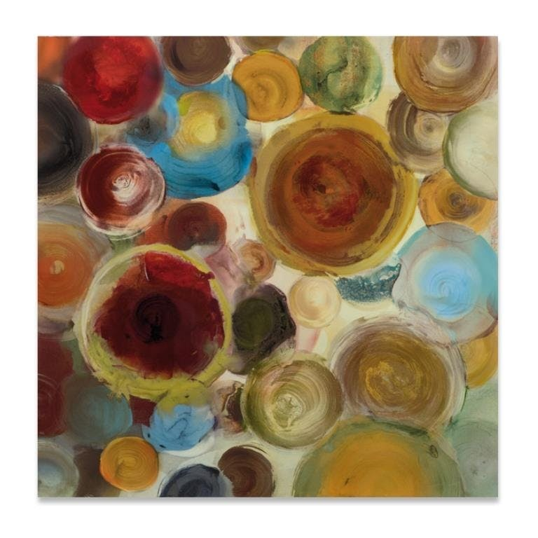 ABSTRAIT 100x100 Peinture acrylique carrée Rouge et Marron avec effet brillant