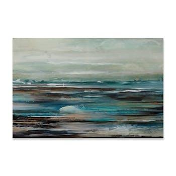 ABSTRAIT 100x150 Peinture acrylique rectangle Bleu et Marron avec effet brillant