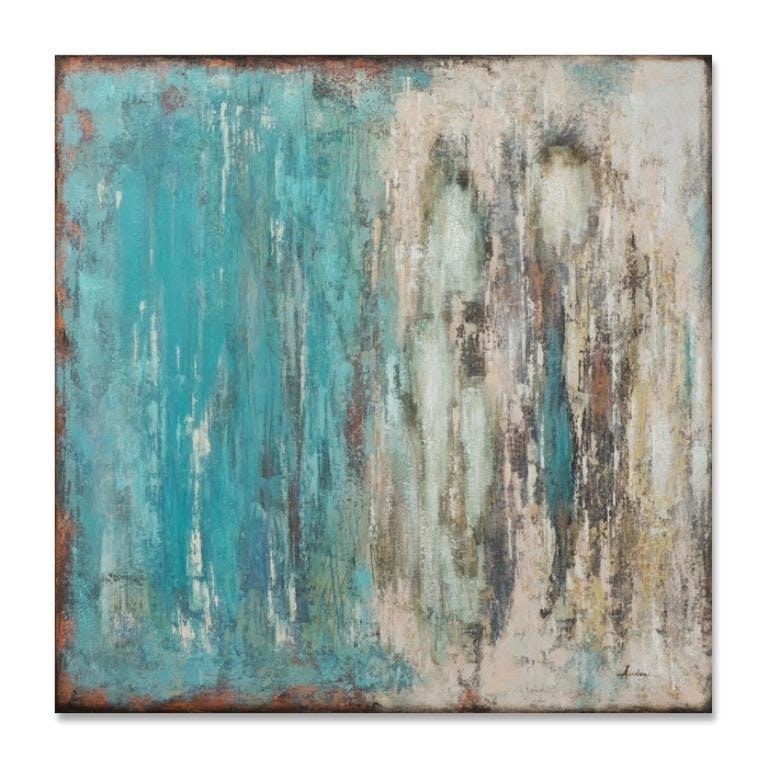 ABSTRAIT 100x100 Peinture acrylique carrée Bleu effet veillis
