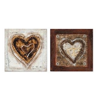 COEUR 25x25 Lot de 2 tableaux acrylique carré Marron et Doré