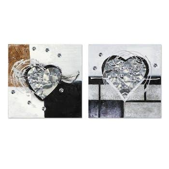 COEUR 25x25 Lot de 2 tableaux acrylique carré Argent et Métal