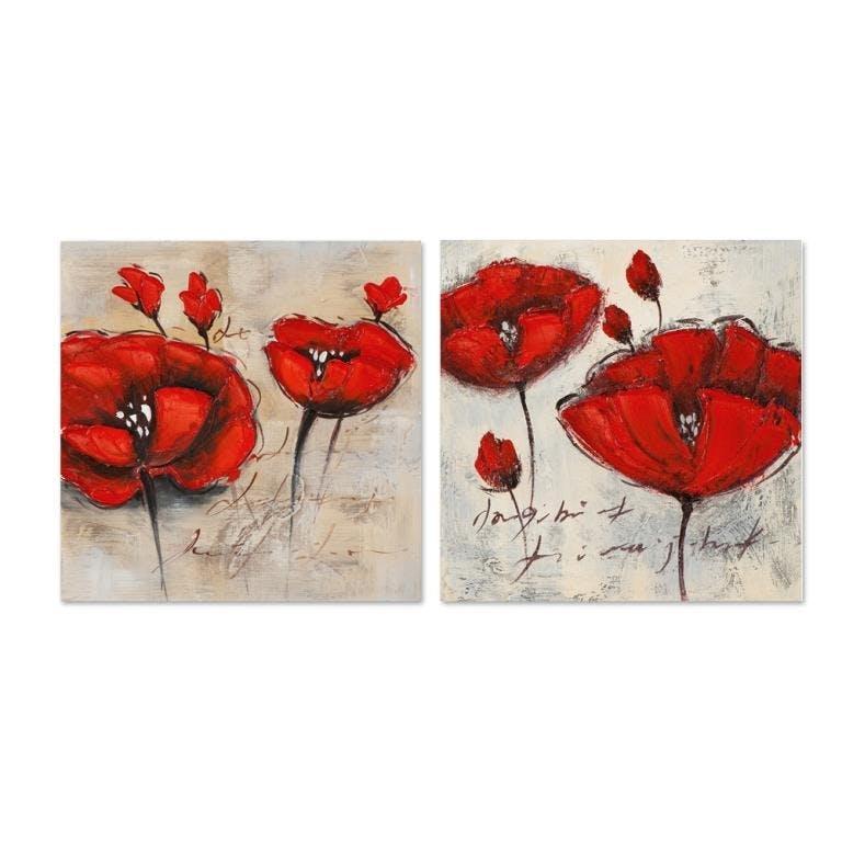 FLEURS 25x25 Lot de 2 tableaux acrylique carrée Coquelicot rouge