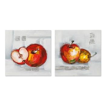 POP-ART 25x25 Lot de 2 tableaux acrylique Rouge et Gris - Pommes