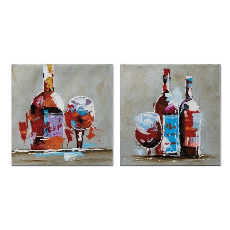 VIN 25x25 Lot de 2 tableaux acrylique carrée Marron et Bleu