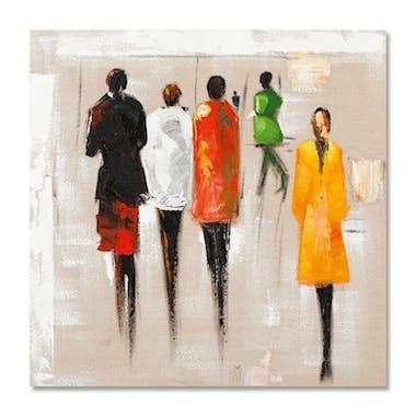 FEMMES 70x70 Peinture acrylique carrée Rouge et Jaune