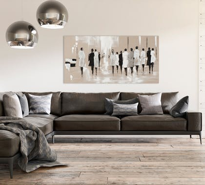 FEMMES 140x70 Peinture acrylique rectangle Marron et Noir