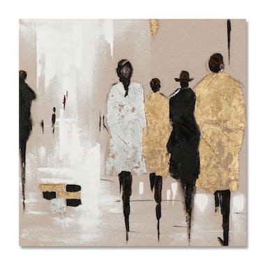 FEMMES 40X40 Peinture acrylique carrée Marron et Doré avec feuille de métal