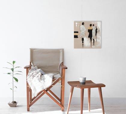 FEMMES 40x40 Peinture acrylique carrée Marron et Argent avec feuilles de métal
