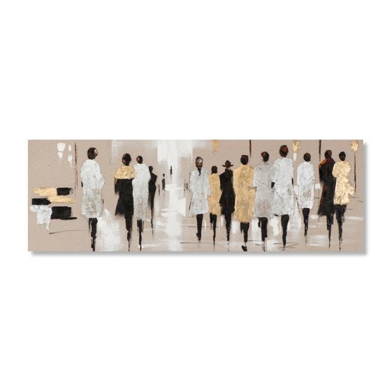 FEMMES 90x30 Peinture acrylique rectangle Marron, Doré et Argent avec feuilles de métal