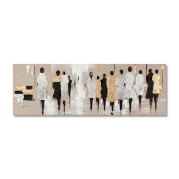 FEMMES 150x50 Peinture acrylique rectangle Marron, Doré et Argent avec feuilles de métal