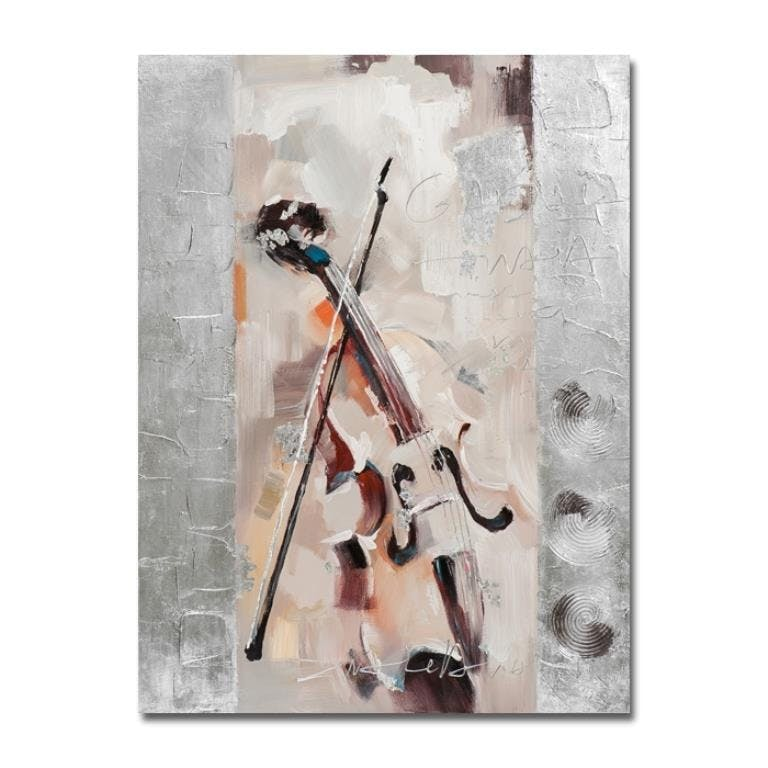 MUSIQUE 90x120 Peinture acrylique rectangle Beige et Argent - Violon