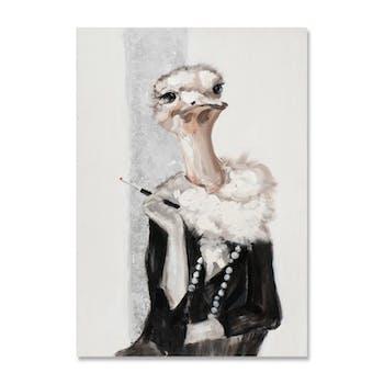 ANIMAUX 70x100 Peinture portrait acrylique rectangle Blanc et Noir - Autruche