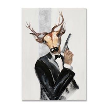 ANIMAUX 70x100 Peinture portrait acrylique rectangle Blanc et Noir - Cerf