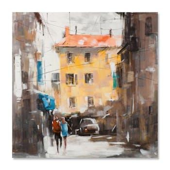 PAYSAGES URBAINS 100x100 Peinture acrylique carrée Marron et Jaune