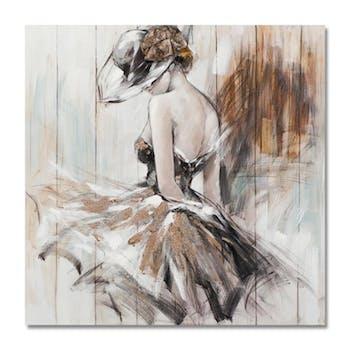 FEMMES 100x100 Peinture acrylique carrée Noir et Marron avec effet pailleté