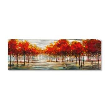 FORETS 150x50 Peinture acrylique sur métal Marron et Rouge