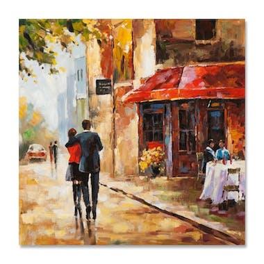 PAYSAGES URBAINS 100x100 Peinture acrylique carrée Beige et Rouge