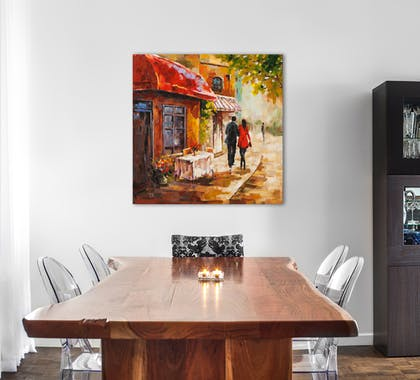PAYSAGES URBAINS 100x100 Peinture acrylique carrée Marron et Vert