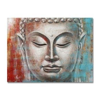 BOUDDHA 120x90 Peinture acrylique rectangle Rouge et Bleu avec feuilles de métal