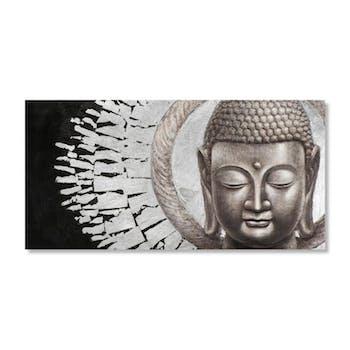 BOUDDHA 140x70 Peinture acrylique rectangle Noir et Argent avec feuilles de métal