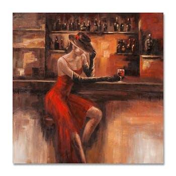 FEMMES 100x100 Peinture acrylique carrée Marron et Rouge