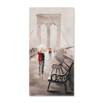 PAYSAGES URBAINS 30X60 Peinture acrylique rectangle Beige et Rouge - New York