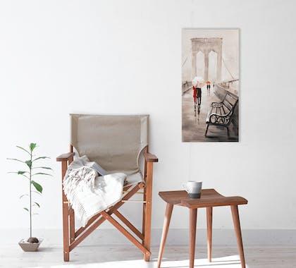 PAYSAGES URBAINS 30X60 Peinture acrylique rectangle Beige et Rouge - New York