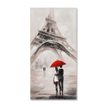 PAYSAGES URBAINS 30X60 Peinture acrylique rectangle Beige et Rouge - Paris