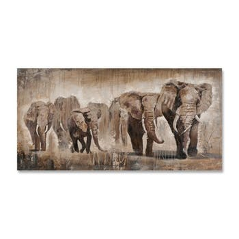 ANIMAUX 140x70 Peinture acrylique rectangle Beige et Marron - Eléphants